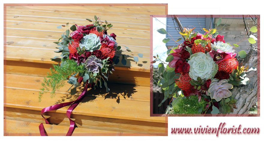 Rustic burgundy cascading bridal bouquet in Montreal
