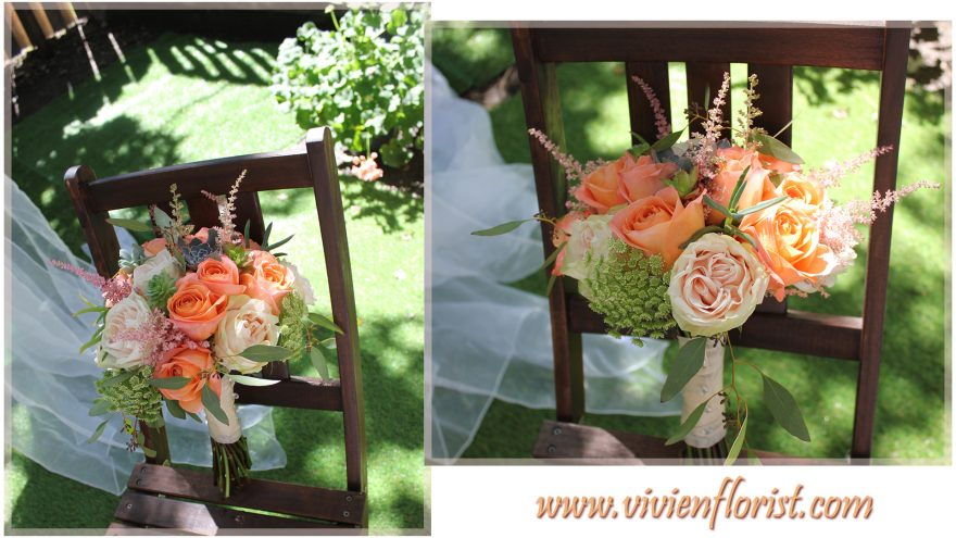 Peach and Coral Natural Wedding bouquet