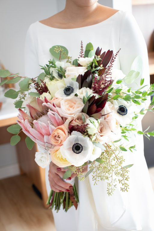 Stunning King Protea wedding bouquet