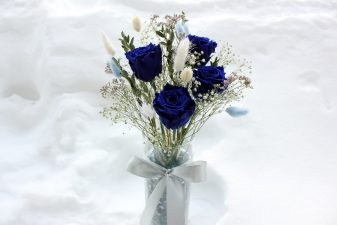 Blue Eternal Roses in Glass Vase