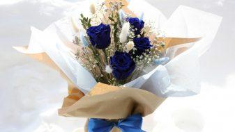 Blue Eternal Roses in Glass Vase