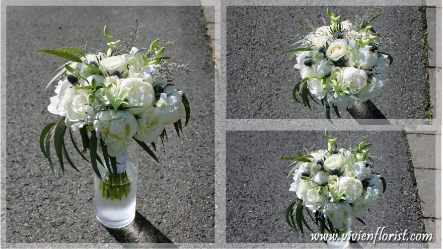 Natural White Peonies & Thistles Bridal Bouquet