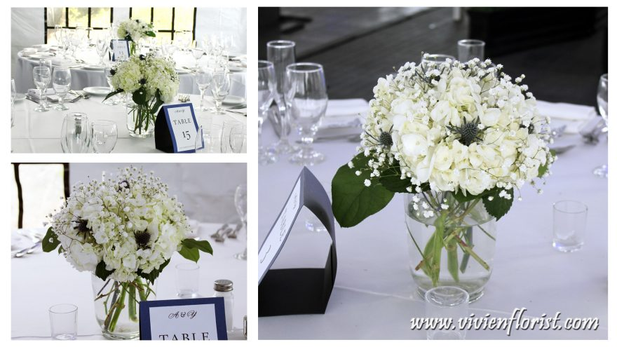 Simple yet Splendid Hydrangea & Baby's Breath Centerpiece