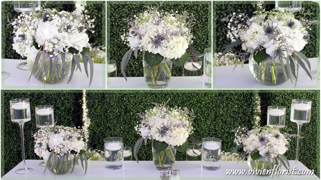 Organic looking white and green centerpieces in Montreal