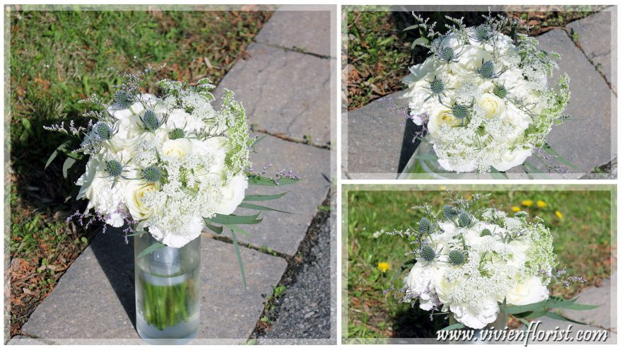 Natural White Roses and Queen Anne's Lace Wedding Bouquet