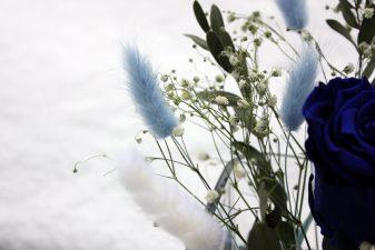 Blue Preserved Rose Vase