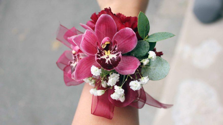 Burgundy Orchid Wrist Corsage