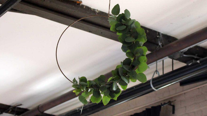 Modern eucalyptus metallic wreath