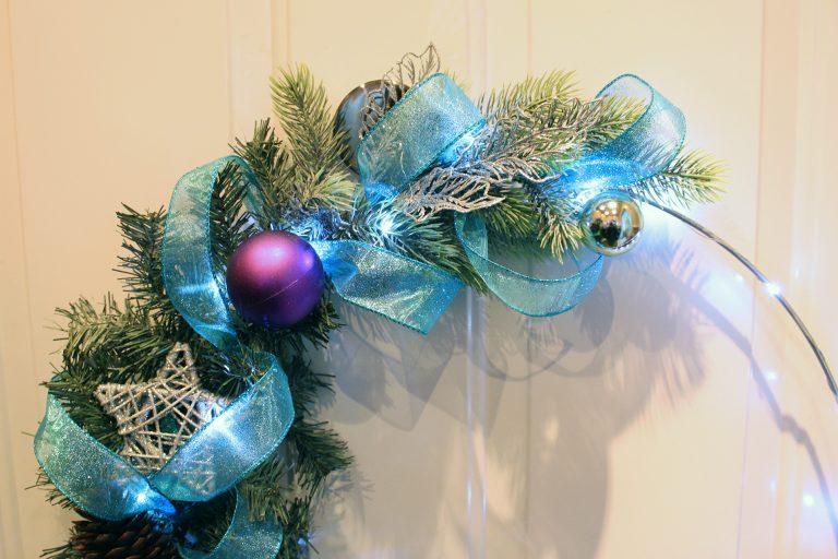 Handmade prelit frosty shiny wreath