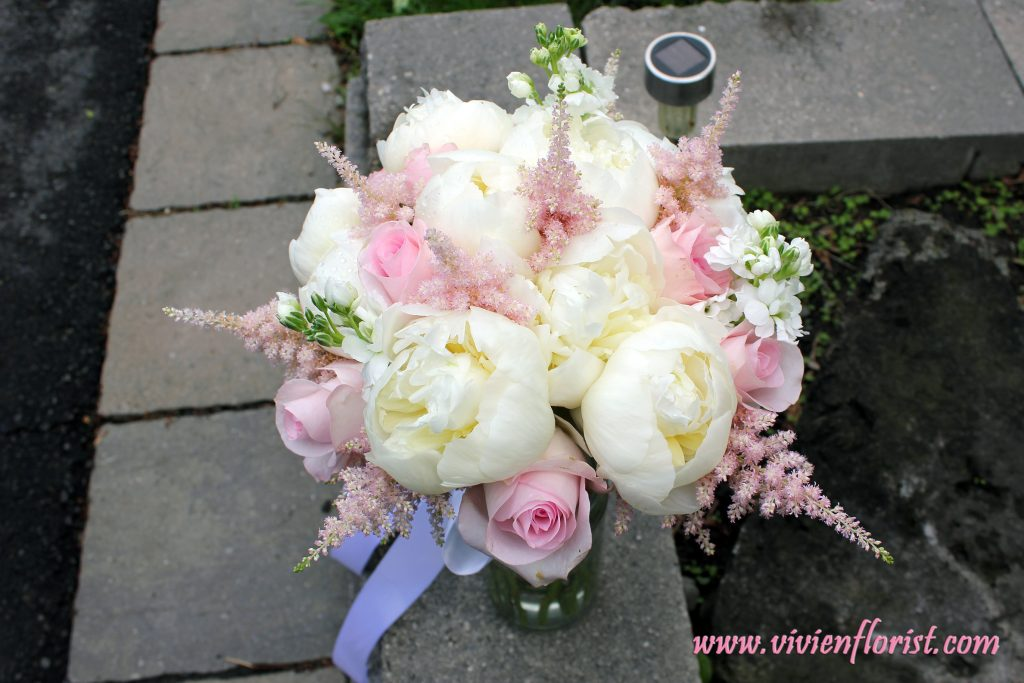 Luxurious peonies and astilbes bouquet in Montreal