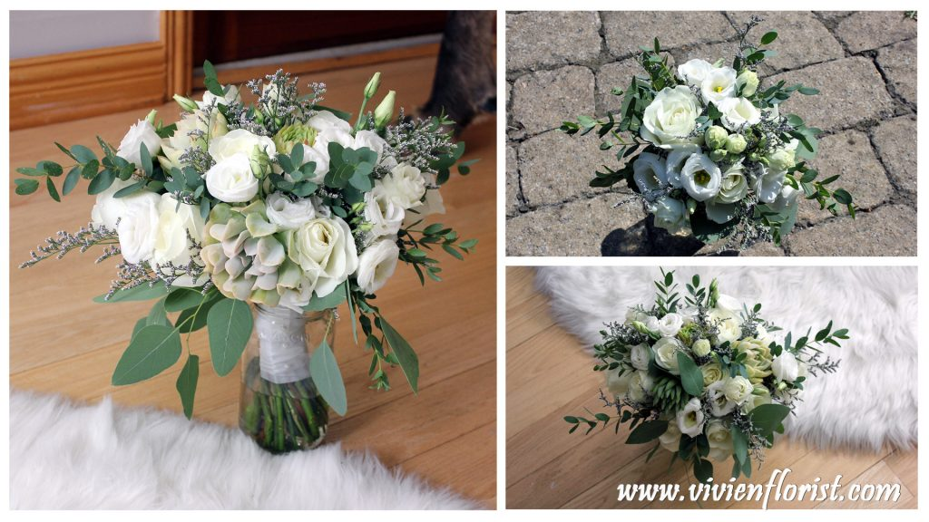 White and green succulents wedding bouquet in Montreal