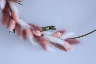 Pink preserved bunny tails wreath