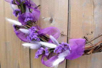 Romantic purple bunny tail wreath