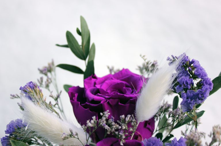Purple Eternal Roses in a Vase