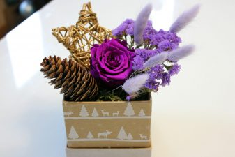 Purple preserved rose gift box
