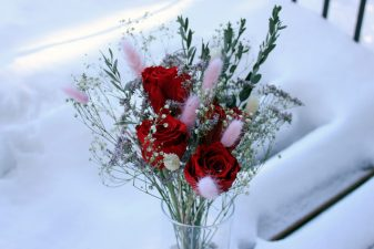 Red Eternal Roses in Glass Vase
