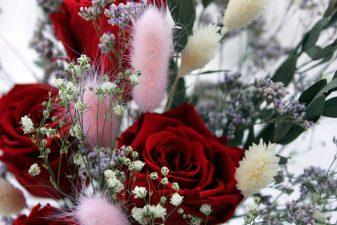 Red Eternal Roses in Glass Vase